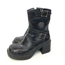 Harley Davidson Womens Mid Calf Black Leather Boots With Buckle And Zipper 5