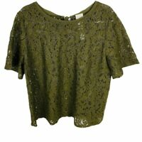 Chicos Womens Size 2 Large Green Floral Short Sleeve Top Eyelet