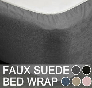Stretch Bed Valance Faux Suede Bed Wrap Blue Pink Grey Black Box Spring Cover