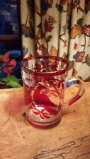 ANTIQUE Bohemian Ruby flash Glass Mug Birds Flowers