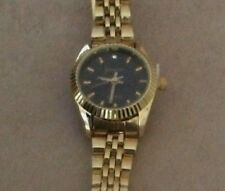Geneva Women's Gold Watch Round Black Dial on Gold Bracelet Designer Inspired!