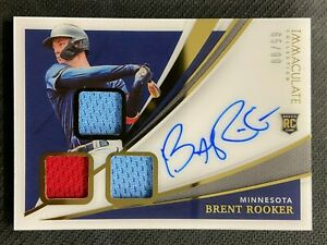 BRENT ROOKER 2021 PANINI IMMACULATE RPA RC JERSEY AUTO 65/99 MINNESOTA TWINS