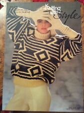 Womens Knitting Patterns.jumpers.polo neck.size 30-40 inch bust.chunky.diamond