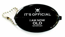 QUIKOIN VINYL OVAL BLACK SQUEEZE COIN PURSE WALLET GAG BIRTHDAY RETIREMENT GIFT