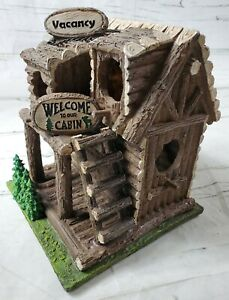 Decorative Log Cabin Resin Bird House (Heavy) Hang or Place