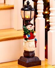 "Christmas Snowman Ceramic Tabletop Lamppost Light Holiday Decor 15""H"