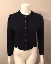 Stunning Heller Sport Navy Blue Boiled Wool Knit Sweater Jacket Blazer Size XS