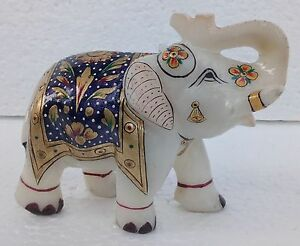 Elephant Hand Painted Statue Figurine Marble Stone Home Decor Indian Art