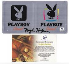 AUTHENTIC HUGH HEFNER SIGNED PLAYBOY CHANNEL STICKERS! GAI COA