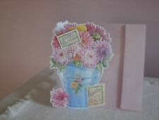 Carol's Rose Garden - Birthday card - Pink flowers in blue bucket on cover