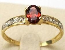 SYJEWELLERY FINE 9CT YELLOW GOLD OVAL NATURAL GARNET & DIAMOND RING SIZE N R1494