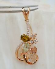 ELEGANT PENDANT. NATURAL TOURMALINE & CRYSTALS  925 STERLING SILVER