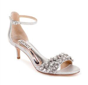 Badgley Mischka 258705 Womens Lara Crystal Embellished Sandal Silver Size 7.5 M