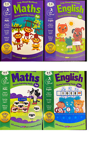 Maths & English Book Workbook Home learning Pre-School Nursery age 3-4 4-5