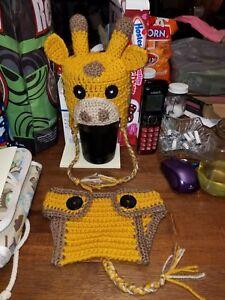 Handmade Crochet Giraffe Photo Prop Set 0- 3 months