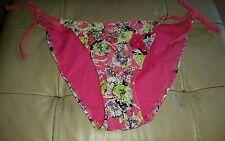 Gorgous pink white green floral bead NEW LOOK side tie bikini bottoms size 12