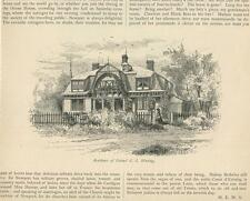 ANTIQUE RHODE ISLAND NEW ENGLAND GABLE HOUSE OF COLONEL G. G. WARING OLD PRINT