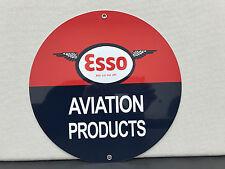 ESSO aviation products oil garage man cave racing gasoline vintage round sign