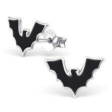 Plata esterlina 925 Negro Murciélago Vampiro Aretes Halloween Gótico escalofriante Lindo
