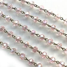 Pink Crystal Rondelle Beaded Rosary Antique Brass Eyepin Chain 8x6mm 2ft 66479