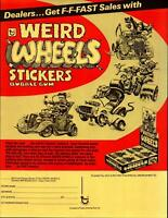 Weird Wheels Stickers Trading Cards Dealer Sell Sheet Sale Ad Topps 1980