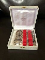 """Vintage Christofle Set Of 12 Silver Plated Demitasse  Spoons 4"""" With Box"""