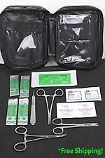 #1 Survival Surgical Suture Kit, Needle Hdr. Forceps, Scalpel, Scissors, Lot / 2