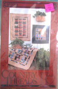 "Country Threads ""Spools"" 3 Wallhanging Quilt Pattern 25""x31.5"", 34.5""x37.5"""