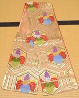 Silk Fukuro Obi Belt Flower 414cm for kimono Women Japanese vintage /694