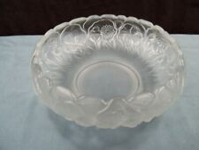 """Fenton Clear Satin Glass Crystal Velvet Bowl w/ Water Lily Design 8 3/4"""" Wide #3"""