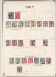 Thailand 1885-1900 collection on old time album page in mixed condition
