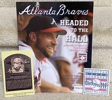 John Smoltz 2015 HOF LOT Souvenir Program, HOF Postcard & Member Sticker Braves