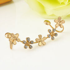 1PC Womens Crystal Star Flower Gold Ear Cuff Stud Earring Wrap Clip On Ear Gift