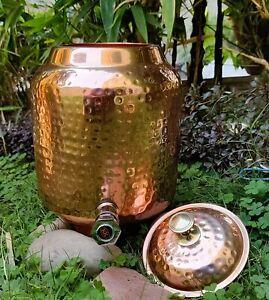 Copper Water Pot ,Tank , Dispenser Matka Hammered Design for Storage & 5 Liter