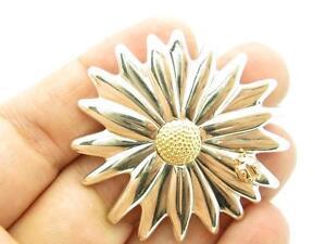 Tiffany & Co. Vintage Sterling Silver & 18k Gold Daisy Flower Ladybug Brooch Pin