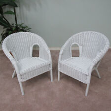 Real Wicker Stacking Small Chair (Children Only) (Set of 2) White