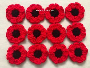 12 NEW HANDMADE  CROCHET FLOWERS  RED SIZE 2 INCHES