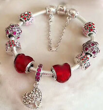 STERLING SILVER BRACELET WITH Beads & CHARM Red Love Heart Romance - pandora