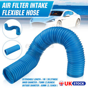 """Blue 3"""" Air Intake Hose Flexible Pipe Filter Cold Feed Duct Induction Kit 75mm"""