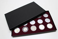 BOX FOR COINS IN AIRTITE CAPSULE HOLDER for SILVER DOLLARS, 15 H BURGUNDY FELT