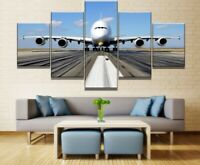 Big Airplane on the Ground 5 Pieces Canvas Wall Art Poster Print Home Decor