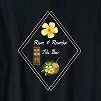 Rum & Rumba Tiki Bar Mens 2XL 3XL XXL XXXL Black Tshirt Cocktail Drinks Cotton