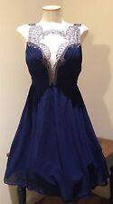 NWT LITTLE MISTRESS NAVY BAROQUE FRONT  DRESS Sz 6 ASOS PARTY PROM
