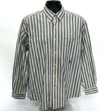 Tommy Hilfiger Crested Shirt Mens L Large Blue Striped Long Sleeve Button Front