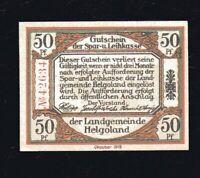 """Notgeld 50 Pf HELGOLAND 1919: """"Gutschein der Spar- und Leihkasse Helgoland"""", top"""