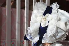 White Lace Vintage Blue Tie Bowknot Beanie Sun Hat Cap Toddler Infant Baby Kid