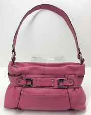 Tignanello Pink Leather Silver Accents Shoulder Hand Bag Purse Womens Medium