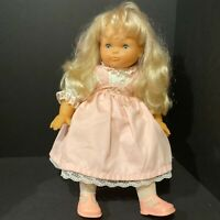 Famosa Doll Blond Hair Blue Sleep Eyes19 inches tall Pink Dress Made In Spain