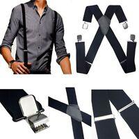 New Mens Black Elastic Suspenders Leather Braces X-Back Adjustable Clip-on DH