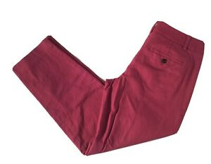 ANN TAYLOR LOFT Womens Marisa Straight Trouser Ankle Pants 4 Pink Burgundy 26L